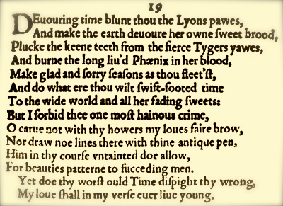 sonnet 19 Sonnet 19 that our today will so soon yester be does enrage those who prefer  breeze to gale yet we who have weathered the savage sea fear.