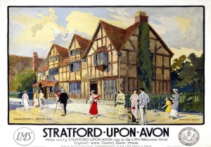 Poster produced for the London, Midland & Scottish Railway (LMS) to promote rail travel to Stratford-upon-Avon, Warwickshire, and the LMS Welcombe Hotel, described as 'England's newest country house hotel'. As the birthplace of the playwright William Shakespeare (1564-1616), Stratford-upon-Avon was promoted extensively to the American market. c 1923. Artwork by Warwick Goble, who studied at Westminster School of Art and started out as a lithographer. He exhibited at the Royal Academy and other leading galleries. He illustrated many books and designed posters for the LMS and Great Western Railway (GWR).